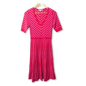 Boden Amelie Wool Fit And Flare Striped Midi Dress